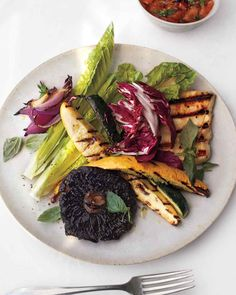 Grilled Vegetables and Halloumi Cheese with Charred-Tomato Dressing