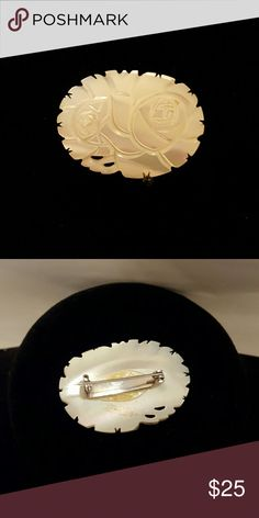 """Japanese brooch Hand carved mother of pearl broach. Measures 1.5"""" long x 1"""" wide. Safety clasp. Vintage Jewelry Brooches"""
