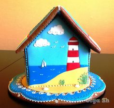 gingerbread house RED AND WHITE LG - SM STACK COOKIE LIGHTHOUSE TOWER