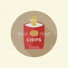 Potato chips icon with long shadow in flat style. Long Shadow, Potato Chips, Free Vector Art, Royalty, Potatoes, Inspiration, Royals, Biblical Inspiration, Potato