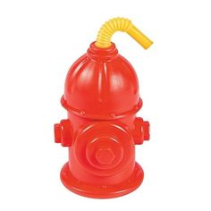 FIREFIGHTER-FIREMAN-PARTY-1-PLASTIC-FIRE-HYDRANT-SIPPER-DRINK-CUP-WITH-STRAW