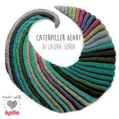 Craft Lover ♥ Caterpiller Heart di Laura Soria: uno scialle usando un solo gomitolo di Azteca Fine