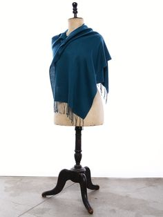 """Himalayan real Pashmina Muffler. Cashmere Muffler shown here in a luxurious Teal color and Herringbone weave, with 3"""" Twisted Knot fringe. Choose your favorite color, weave, and finishing touches at https://pashm.com/shop/himalayan-cashmere-muffler/"""