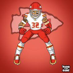 Kansas City Chiefs Football, Football Art, Football Players, Football Wallpaper Iphone, Funny Football Memes, Sports Drawings, New Orleans Saints Football, Sports Art, National Football League