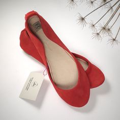 Geranium Soft Suede Handmade Ballet Flats. $98.00, via Etsy.