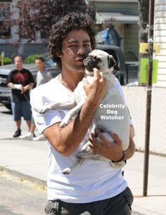 Adrian Grenier and pug. I adore him more than the pug, sorry Pug lovers no offense.