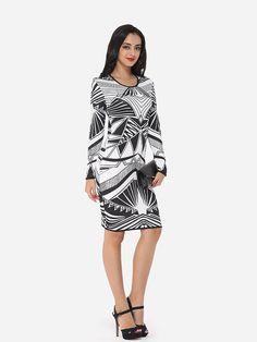 Assorted Colors Geometric Printed Elegant Round Neck Bodycon Dress #BodyconDresses, #Dresses, #Fashion, #Womens