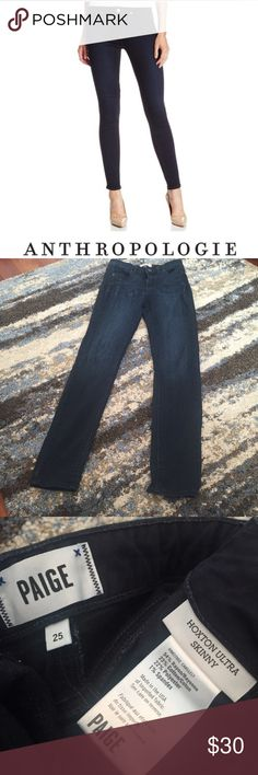Anthropologie Paige Hoxton Ultra Skinny Jeans Anthropologie Paige Hoxton Ultra Skinny Jeans. Gently worn. Great condition. 9.5 in rise (mid). 30 inch inseam (ankle). Feel free to make an offer. Size 25 which is a 0. Anthropologie Jeans Skinny