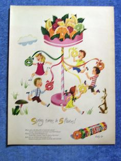 VINTAGE 1947 LIFE SAVERS AD - SPRING COMES IN 5 FLAVORS!