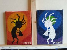 Kokopelli  (Rain Man) acrylic paintings on 8in x 6in burlap canvases. Very simple yet very pretty.  Going to make more of these soon!  Check out this item in my Etsy shop https://www.etsy.com/listing/245322893/colorful-kokopelli-paintings-acrylic-on