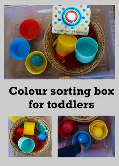 Colour sorting box for toddlers. It uses toys and things to have around the house to develop understanding and language in a fun way. Kids Education, Sorting, Toddlers, Blogging, Language, Parenting, Colour, Toys, Fun