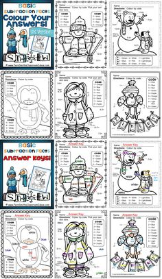 "**50% Off for the First Two Days!** Winter Fun! Basic Subtraction Facts - United Kingdom Version - Colour Your Answers Printables! Per request, this version has ""colour"" for ""color"" and ""grey"" for ""gray."" #TPT $Paid"