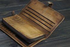 Handmade Men long leather wallet clutch men multi cards vintage gray b | EverHandmade