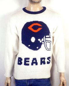 vtg 80s Cliff Engle RARE Chicago Bears Helmet Knit Stadium Sweater NFL  Ditka M. Stl Vintage b3343935f
