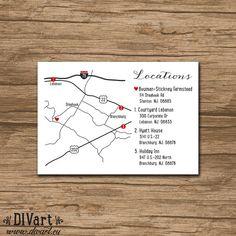 Custom Wedding Map Event Map Directions Locations Wedding Invitation Inserts, Map Wedding Invitation, Wedding