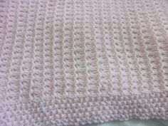 Hand Knit Baby Blanket pale pink chunky knit  ready by DarellaBaby