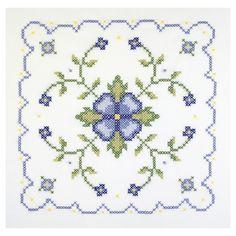 Janlynn Blue And Geometric Quilt Blocks Stamped Cross Stitch