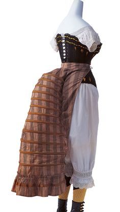 19th Century (Bustle Period): Chemise, corset, drawers, bustle