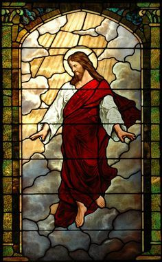 http://www.fosterstainedglass.com/images/full/resto_11.jpg Repaired stained glass window, Foster Stained Glass. This depicts Christ ascension to the right hand of the Father in Heaven. The beauty of God in your inbox daily at http://www.godismyguide.com