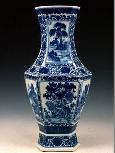 chinese antique blue and white plant hexagonal porcelain vase