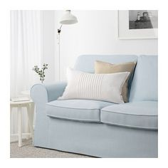 Buying this instead of Patio Furniture for Screen Room - EKTORP Loveseat - Nordvalla light blue - IKEA