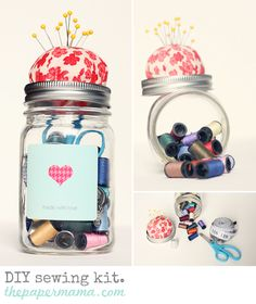 DIY sewing kit in a jar! - This year's Alford Ladies gift. Homemade Christmas Gifts, Homemade Gifts, Christmas Diy, Minecraft Christmas, Homemade Stocking Stuffers, Love Jar, Fashion Bubbles, 242, Creation Couture
