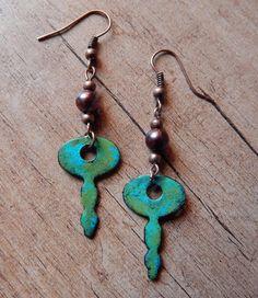 "Ooak☥Craft - 'The shining city below the sea' necklace and earrings set (earrings detail) > Conjunto de collar y pendientes""The shining city below the sea"" (detalle de los pendientes)"