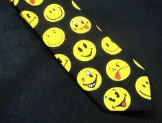 Ralph Marlin Smiley Face Mens Tie 1995 Franklin Loufrani  #RalphMarlin #NeckTie