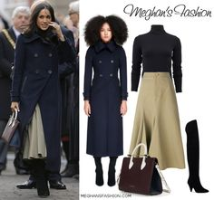 This morning Prince Harry and Meghan Markle visited the city of Nottingham on their first official royal visit since announcing their engagement on Monday. Meghan Markle Outfits, Meghan Markle Style, Black Turtleneck, Turtleneck Bodysuit, Full Midi Skirt, Prince Harry And Megan, Black Wool Coat, Royal Engagement, Princesa Diana