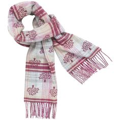 Jacquard Logo Scarf Mulberry Pink Merino Cashmere ($200) found on Polyvore