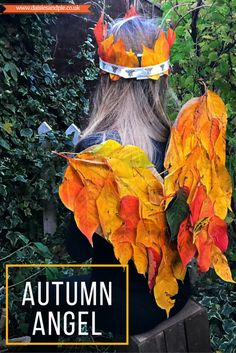 How to make an autumn angel crown and leaf wings a totally magical gorgeous autumn craft for kids.