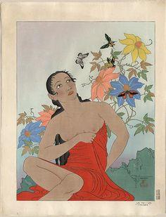 Paul Jacoulet - Butterflies of the Tropic, 1939. Woodblock.