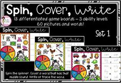Spin, Cover & Write - Set 1: CVC Words Literacy Games, Cvc Words, Spinning, Board Games, Student, Writing, Cover, How To Make, Pictures