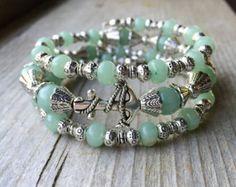 Green Anchor Memory Wire Bracelet With Aventurine Gemstones