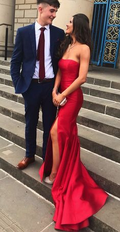Long Prom Dresses Mermaid, 2019 Red Evening Dresses With Sleeves, Elegant Graduation Dress With Slit Long Prom Dresses Mermaid, 2019 Red Evening by PrettyLady on Zibbet Evening Dresses With Sleeves, Elegant Prom Dresses, Cheap Prom Dresses, Formal Evening Dresses, Strapless Dress Formal, Long Dresses, Maxi Dresses, Simple Dresses, Dress Long