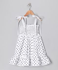 Black Polka Dot #Smocked #Dress from De n' L on #zulily