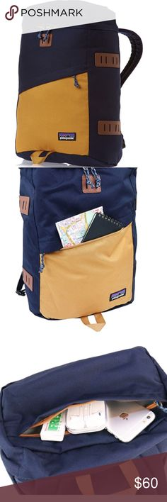 Patagonia toromiro pack Brand new Patagonia 22L backpack in navy and gold! It's the perfect size for school and has lots of pockets-- even a padded section for a laptop! It's a very attractive and practical pack, I just realized I have too many like it. Open to offers! Patagonia Bags Backpacks