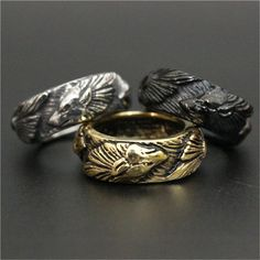 Black Gold Jewelry Give yourself the Viking look - Golden, Silver, Black Color Fenrir Wolf Ring For Men And Women Wolf Jewelry, Jewelry Accessories, Fashion Bracelets, Fashion Jewelry, Black Gold Jewelry, Gold Jewellery, Dress Jewellery, Copper Jewelry, Jewellery Making