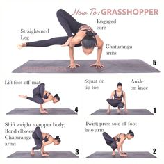 How To: GRASSHOPPER . SWIPE: Benefits, Common Mistakes, Warm Ups . ▫️Begin in squat position on tip toes. ▫️Place right leg over bent knee (legs should be in figure ▫ Ashtanga Yoga, Yoga Bewegungen, Yoga Flow, Pilates Workout, Yoga Pilates, Yoga Moves, Workouts, Exercise, Yoga Routine