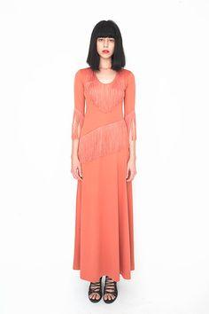 1970s Vintage Fringe Maxi Dress by amuletboutique on Etsy, $165.00
