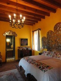 Mexican Decor: That Headboard! Wow. A Fabulous Bedroom In A Mexican Home. Spanish  Style ...