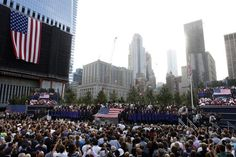 This morning, family and friends gathered to mourn those lost on September 11, 2001. We mourn the loss also and thank the fire fighters, police officers, and armed forces for keeping our country safe. Photo by Jason DeCrow/AP
