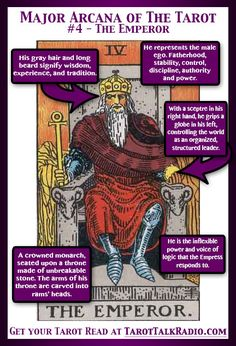 Divination:  Major Arcana of The #Tarot:  #4 ~ The Emperor.