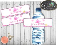 Pink Whale Baby Shower Girl WATER BOTTLE LABELS printable with nautical pink whale theme, digital files, Pdf Jpg, instant download - wbl02 #babyshowerparty #babyshowerinvites