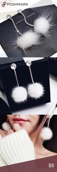 Winter white Rhinestones Fur Ball Long earrings Winter white Rhinestones White Fur Ball Long Earrings. Feel cozy this winter!!! Perfect for upcoming holidays. Jewelry Earrings
