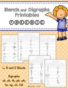 FREE Blends and Digraphs PrintablesHere are 5 free printables that would be… First Grade Reading, First Grade Classroom, Student Reading, Teaching Kindergarten, School Classroom, Teaching Reading, Learning, Phonics Blends, Blends And Digraphs