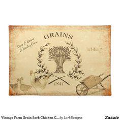 Vintage Farm Grain Sack Chicken Collage Cloth Place Mat