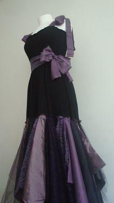 So sew simple yet elegant!  ~ Upcycled Woman's Clothing Romantic Eco Style Wedding Fairy Dress Black Purple Gothic Tulle Lace OOAK. $128.00, via Etsy.