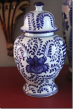 White Spray Paint: A Favorite : Blue and white Ginger Jars at my blog www.whitespraypaintblog.com
