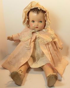 Vintage Composition Doll Original Clothes Shoes Sweet Face